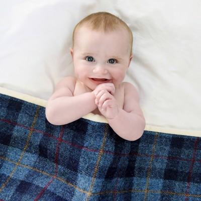 Blue and Red Harris Tweed pram quilt