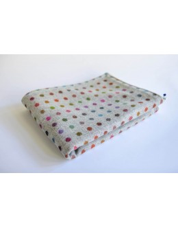 Abraham Moon grey polka dot blanket