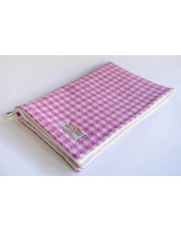 Pink and white check Harris Tweed pram blanket