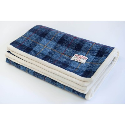 Blue and red Harris Tweed quilt