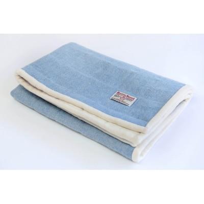 Baby blue Harris Tweed large quilt
