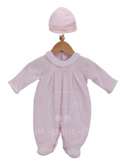 Pleated babygrow with hat - pink
