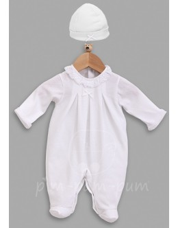 Pleated babygrow with hat - white