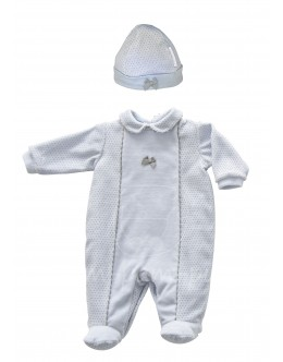 Blue and grey babygrow with hat