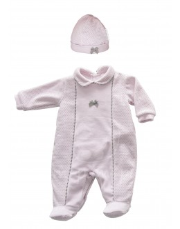 Pink and grey babygrow with hat
