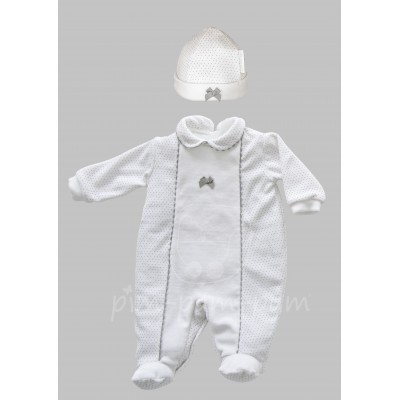 White and grey babygrow with hat